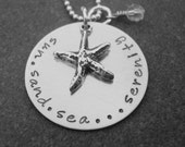 Sun Sand Sea Serenity Sterling Silver Necklace Beach Jewelry Starfish Beach Lover Hand Stamped Jewelry