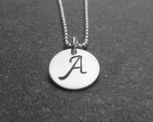 Hand Stamped Personalized Jewelry Initial Necklace Bridesmaid Gift Teacher New Mom