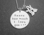 Guess how much I love you I love you to the moon and back bunny charm sterling silver Hand Stamped Jewelry Ready to Ship