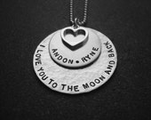 I Love You To The Moon And Back Necklace With Personalized Names Sterling Silver Hand Stamped Personalized Jewelry Mother's Day Gift