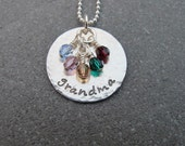 Birthstone Necklace Grandma Necklace Nana Necklace Mother's Day Hand Stamped Jewelry Personalized