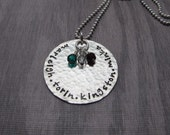 Hand Stamped Jewelry Custom Personalized Hammered Mommy or Grandma Necklace Grande Style With Birthstones