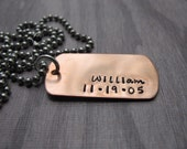 Personalized Handstamped Jewelry  Copper Dog Tag Necklace Military Dog Tag New Dad
