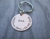 Custom Personalized Copper Key Chain For Dad Fathers Day Hand Stamped New Dad