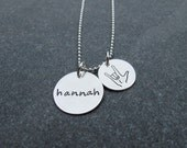 Hand Stamped Jewelry  ASL Jewelry Custom Personalized Name Necklace With I Love You Charm In Sign Language