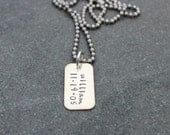 Personalized Name Tag Necklace Unisex For Him Jewelry Sterling Silver Small Dog Tag Hand Stamped