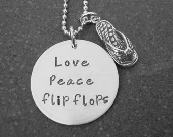 Love Peace Flip Flops Necklace Flip Flop Charm Beach Girl Hand Stamped Jewelry Ready to Ship