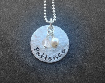 Hand Stamped Jewelry Patience Sterling Silver Necklace Infertility Jewelry Rose Quartz Charm