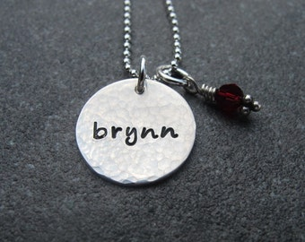 Hand Stamped Personalized Jewelry Hammered Name Necklace Sterling Silver Push Present New Mom Gift Mother's Day Birthstone