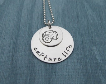 Hand Stamped Jewelry Capture Life Necklace With Digital Camera Stamp Photographer Jewelry Ready to Ship