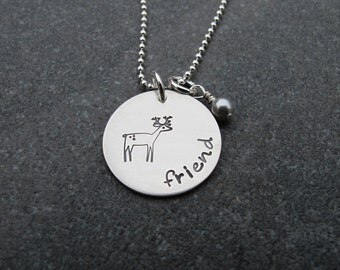 Hand Stamped Jewelry Dear Friend Necklace Girlfriend Necklace Best Friend Deer Stamp Sterling Silver Personalized Jewelry Ready to Ship