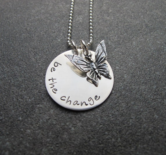 items similar to be the change sterling silver necklace