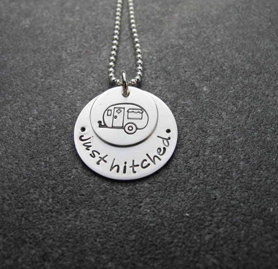 Just Hitched Sterling Silver Necklace Trailer Charm Trailer Wedding Gift Ready to ship