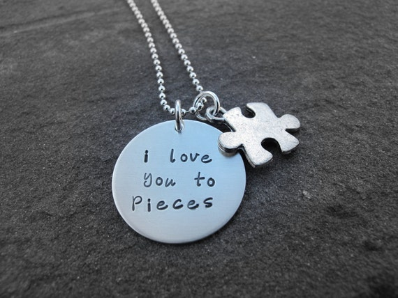 I love you to pieces hand stamped necklace personalized jewelry Ready to Ship