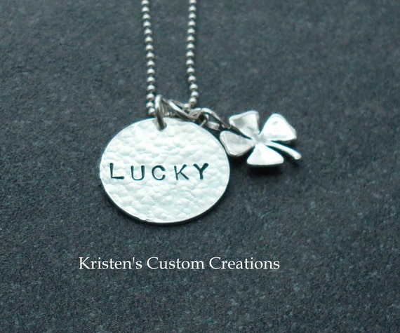 Hammered Handstamped My Lucky Charm Necklace