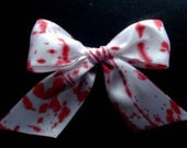 HALLOWEEN hair bow white and red blood splattered DEXTER zombie bride hair bow clip horror gore