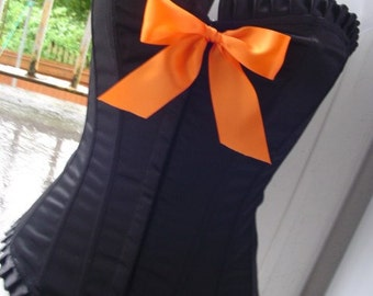 halloween CORSET orange N black boned big bow corset 32 - 34 bust PUMPKIN sexy witch horror vampire