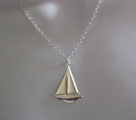 ship necklace boat nautical SAILBOAT silver plate necklace