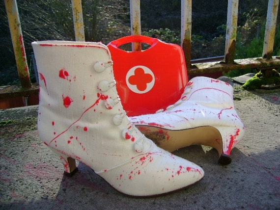 zombie boots halloween my BLOODY VALENTINE white and red blood splattered corpse bride button up shoes eur 39 uk 6