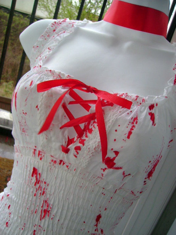 PRIDE and PREJUDICE zombie corpse bride wench blood splatter white top 34 - 38 inch bust