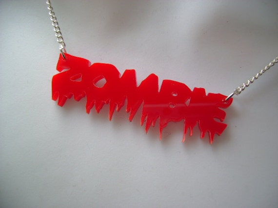 LAST ONE half price sale ZOMBIE necklace acrylic silver plated blood splatter horror dripping gore chain