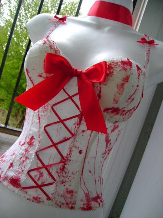 bride of FRANKENSTEIN basque halloween ZOMBIE corset blood splattered white 34 - 36 inch bust