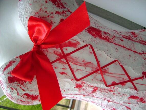STITCHES bride of FRANKENSTEIN basque halloween ZOMBIE corpse bride corset blood splattered white 36 - 38 inch bust