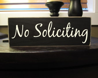 No Soliciting front door wood sign - Style NS7