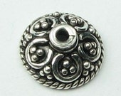 Pretty Parasols Bali Sterling Silver Bead Caps 8mm (2 beads)
