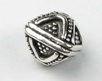Ornate Bali Sterling Silver Square Bicone Bead 8mm x 10mm (1 bead)