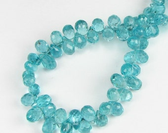 Gorgeous Bright Teal Micro Faceted Apatite Teardrop Briolettes 6mm - 7mm (3 beads)