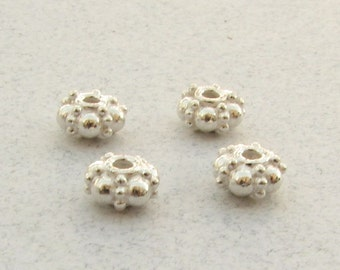 Bali Bright Sterling Silver Spacer Rondelle Beads (2 pieces)