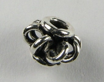 Caged Antiqued Bali Sterling Silver Spacer Beads with Open Wire Loop Design (6 beads)