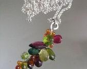 Pretty Jewel...Rainbow Gemstone Laden Signature Original Sterling Vine Pendant Necklace