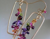 Multi Gemstone Rectangular 14k Gold Filled Earrings, Wire Wrapped Stems with Sapphire, Vesuvianite, Amethyst