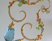 Summer Party...Orange Sapphire Peridot Green Quartz Gold Filled Signature Original Curled Earrings...made to order