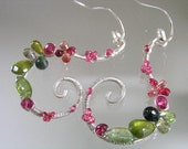 Pretty Much Delectable...Pink Tourmaline Padparadscha Sapphire Peridot Signature Original Sterling Curled Scroll Earrings...made to order