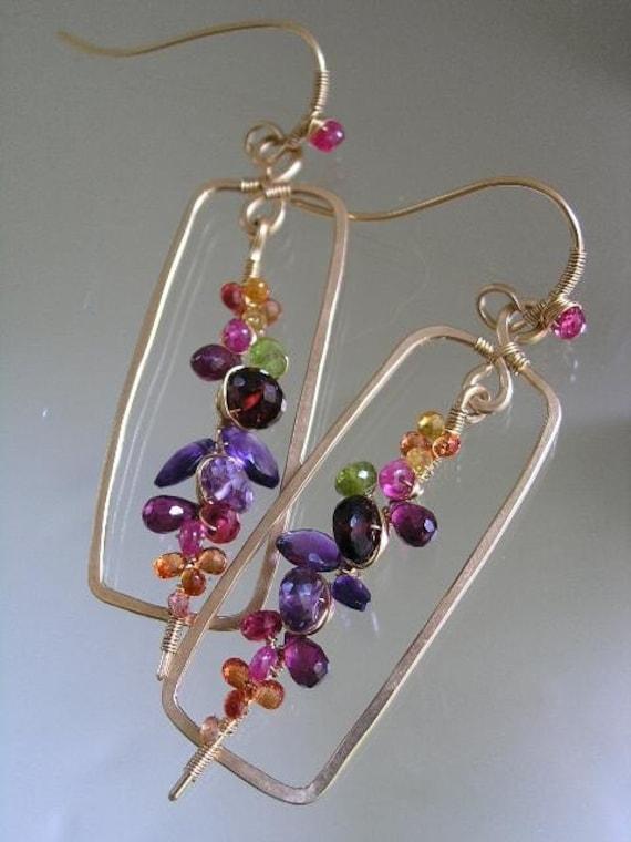 Wonder Jewels...Gold filled Framed Multi Gemstone Signature Original Encrusted Stem Earrings...made to order