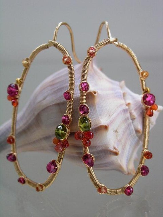 Mod Curves...Sapphire Tourmaline Vesuvianite Studded Original Gold Filled Oval Hoop Earrings...made to order