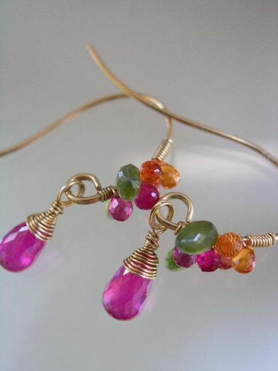 Mod Mistletoe...Ruby Sapphire Vesuvianite Bejeweled Gold Filled Original Earrings