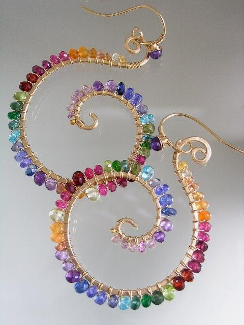 Rainbow Gemstone Spirals Nautilus Earrings Gem Rimmed Gold