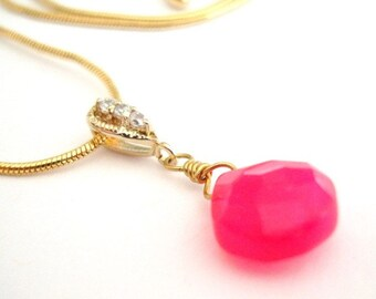 Pink Fuchsia Chalcedony Briolette Gold Necklace