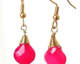 Pink Fuchsia Chalcedony Briolette Gold Dangle Earrings