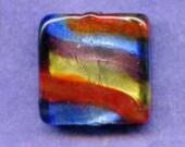 Vintage Venetian Foil Glass Square Jeweltone Bead, Red, Purple, Blue, Gold