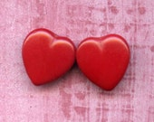 Two Vintage Red Glass Heart Beads 2 Hole Beads