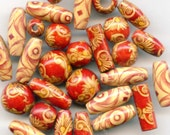 Vintage Lot of Painted Red and Gold Wooden Beads (30)