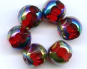Six Amazing Red and Silver Japanese Vintage Glass Beads 10mm