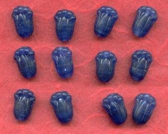 Vintage Tulip Flower Dark Blue Glass Beads Great Details (12)