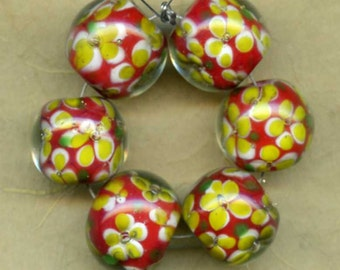 Red, Yellow, and Light Olive Flowered Encased Glass Beads, Vintage,  12x13mm (6)