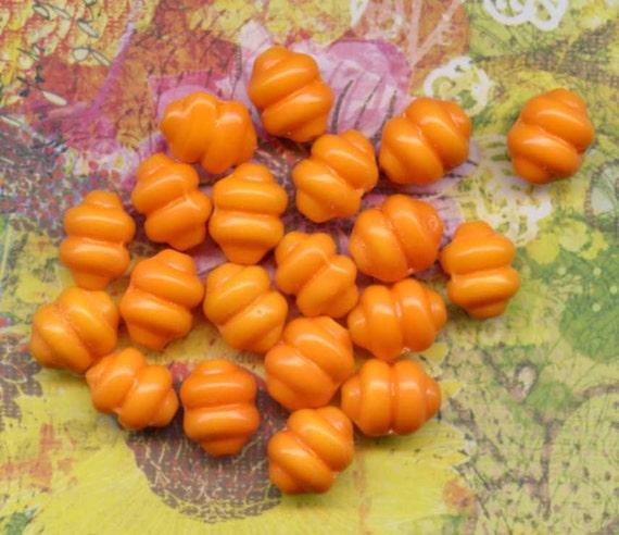 10 Vintage Tangerine Glass Beads Beehive Shape